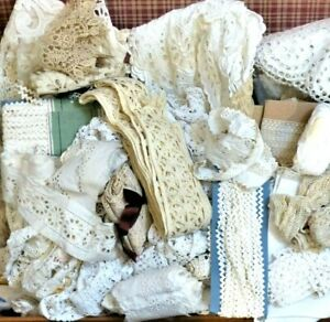 Antique vintage floral embroidered cotton fine trim edging textiles sewing craft