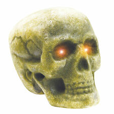 """Moss Covered Rotting Human Skull Lighted Haunted House Halloween Party Prop 7"""""""