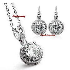 Silver Clear Round Drop Diamond Wedding Set Made With Swarovski Crystal N293IE81