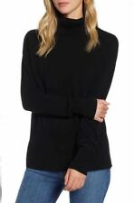 NWOT Halogen 100% Cashmere Turtleneck Sweater In Black Size XL Retail $99