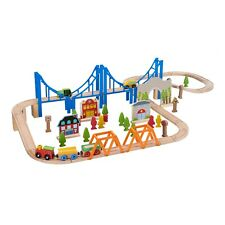 75-Piece Wooden Train Play Set for Kids w/ 3 Train Cars, Bridges, Trees & More
