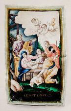 C1800 Noël Christmas on éloigne parchemin Birth of Christ orig gouache
