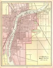 1901 Antique Bay City Michigan Map Vintage Collectible Map of Bay City 4448