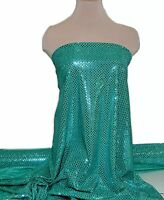 SEQUIN KNIT DISCO DOTS FABRIC TEAL/GREEN  COSTUME, DANCE, PAGEANT, CHEER BOWS