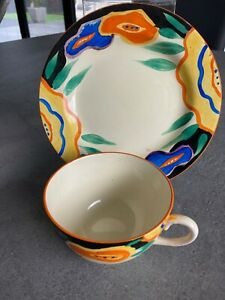 clarice cliff fantastique chintz pattern cup plate