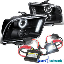 2005-2009 Ford Mustang LED Halo Projector Headlights Black+H1 Slim HID Kit
