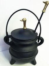 Cast Iron Cape Cod Fire Liter Pot With Solid Brass DuckFinials