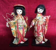 POUPÉES JAPONAISES Anciennes XIX ème en GOFUN Vêtements SOIE Geisha Biscuit