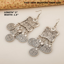 Women Fashion Silver Boho Coin Chandelier Dangle Hook Earrings Gypsy Bohemian