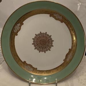 Set Of 4 Vintage Hutschenreuther Selb Bavaria Green Gold Encrusted Salad Plates