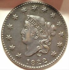 1822 Coronet Head Large Cent Almost Uncirculated Details Early Copper 1c Coin