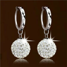 Fashion Women Silver Plated Drop Cubic Zirconia Crystal Dangle Ear Hoop Earrings