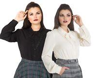 Hell Bunny Adelia Victorian Retro Vintage Long Sleeve Bow Frill Blouse Shirt Top