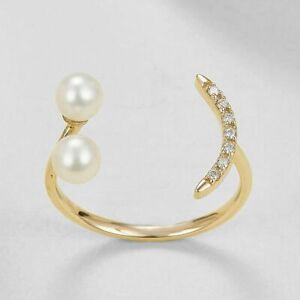14K Gold Genuine Diamond And Freshwater Pearl Open Ring Birthday Gift For Her