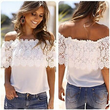 Sexy Women Off Shoulder Casual Tops Blouse Lace Crochet Chiffon Shirt Elegant