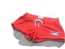 Señoras Hollister Playa Pantalones Cortos Sudor cultivo Rojo UK pequeño 8/10