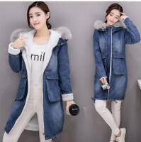 Womens Winter Hooded Denim Jacket Faux Fur Collar Warm Lined Parka Jean Coat