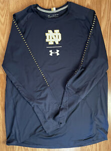NOTRE DAME FOOTBALL ACC TEAM ISSUED UNDER ARMOUR SHIRT 2XL ACC ON BACK