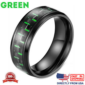 Men's Ring Stainless Steel and Carbon Fiber 8mm Wedding Band, Comfort Fit