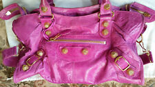 **Balenciaga Giant City magenta bag w gold hardware**