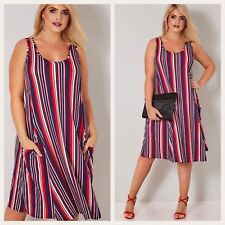 Yours Clothing Size 24 Nautical Stripe Navy Red Swing Tunic Dress Lagenlook