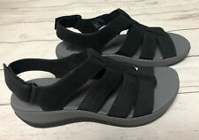 Clarks Cloud Steppers Black Open Toe Sling Back Comfort Sandals Women 8M New