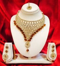 Bollywood Indian Bridal Necklace Earrings Tikka Jewellery Set White Brown M21