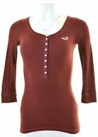 HOLLISTER Womens Top 3/4 Sleeve Size 6 XS Maroon Cotton  NQ18