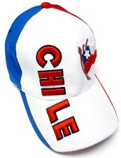Chile White / Red / Blue Soccer Country Hat Cap EMBROIDERED Text Flag Adjustable