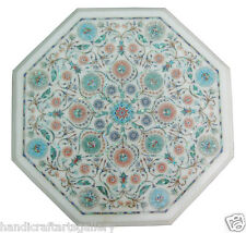 "13"" White Marble Coffee Table Top Turquoise Floral Inlay Garden Decors H1902"