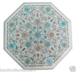 """13"""" White Marble Coffee Table Top Turquoise Floral Inlay Garden Decors H1902"""