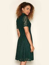 Yumi Womens Floral Print Lace High Neck Vintage Style Dress 12 Dark Green