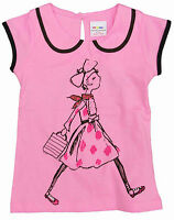 GIRLS SHORT SLEEVE TOP PINK WITH GIRL PRINT 2-3, 3-4, 4-5, 5-6, 7-8 YEARS