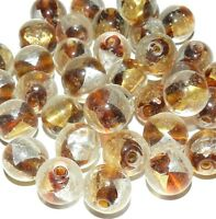 G3232 Topaz Brown with Gold & Silver Foil 14mm Round Lampwork Glass Beads 10pc