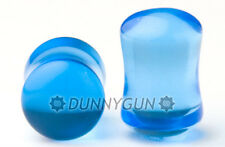 00G Pair Electric Blue Glass Gauged Double Flared Earring Plugs 00 gauge