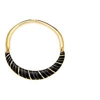KENNETH JAY LANE Black Enamel Gold Tone Bib Necklace