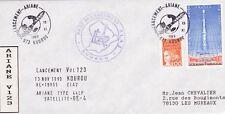 V124 enveloppe thème ESPACE obliteration pour vol 123 13 nov 1999 base ela2