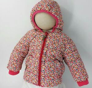 Next Baby Girl Coat 3-6 Months Ditsy Flower Multicoloured With Pink Fleece Lined