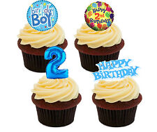 2nd Birthday Boy Edible Cupcake Toppers,  Blue Stand-up Fairy Cake Decorations