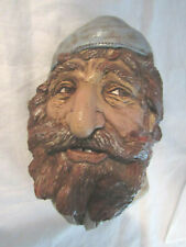 """Rare Vintage -Sign J.Zizzo 78 Alfred - 7.5"""" Wall Plaque Mask Chalk Ware"""