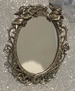 "Ornate Cherub Metal Framed Mirror - 6"" x 5"""