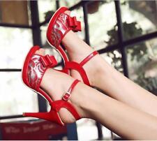 Classic Women Stilettos Heels Bowknot Buckle Strappy Peep Toe Pumps Shoes X406