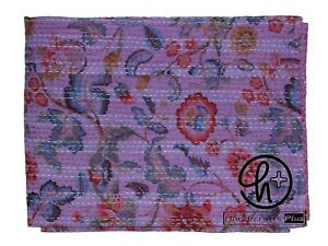Pink Floral Design Blanket Indian Handmade Bohemian Kantha Quilt Single Size
