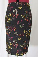 Max Studio NWT Black w/Multi color Floral Print Skirt Size M