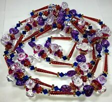 VINTAGE INSPIRED HEART CRYSTAL BEADED CHRISTMAS TREE GARLAND HOLIDAY BEADS 9 FT