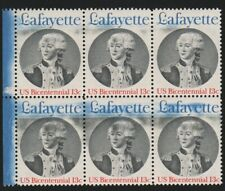 13c Lafayette block of six, color smears, great freak EFO, every stamp different