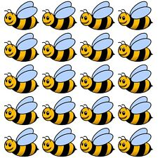 Bee Stickers 24 Colour Printed Vinyl Decals Wall Car Furniture Fridge Etc