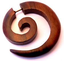 Faux Ecarteur Bois Boucle d'oreille Piercing Wooden Gauge Earring Fake marron