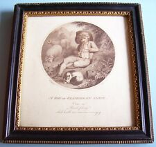 "Lt C18th GEORGIAN SEPIA PRINT ""BOY OF GLAMORGAN SHIRE"" CHILD HOGARTH FRAME 1788"
