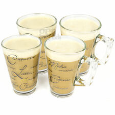 Set Of 4 Script Latte Glasses Cappuccino 240ml Tea Coffee Chai Glass Cups Mugs